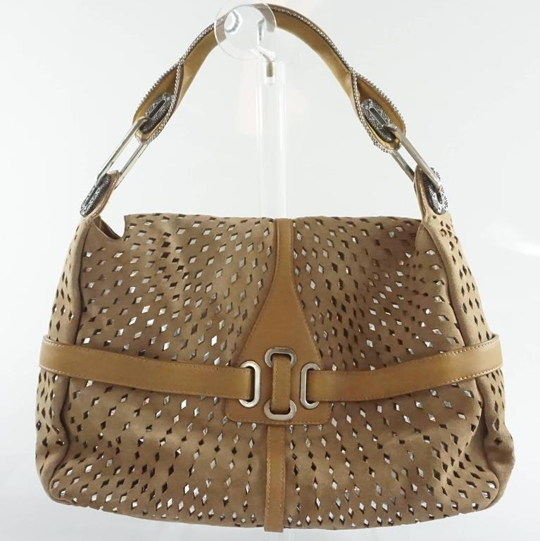Jimmy Choo Tan and Silver Perforated Suede Shoulder Bag  3
