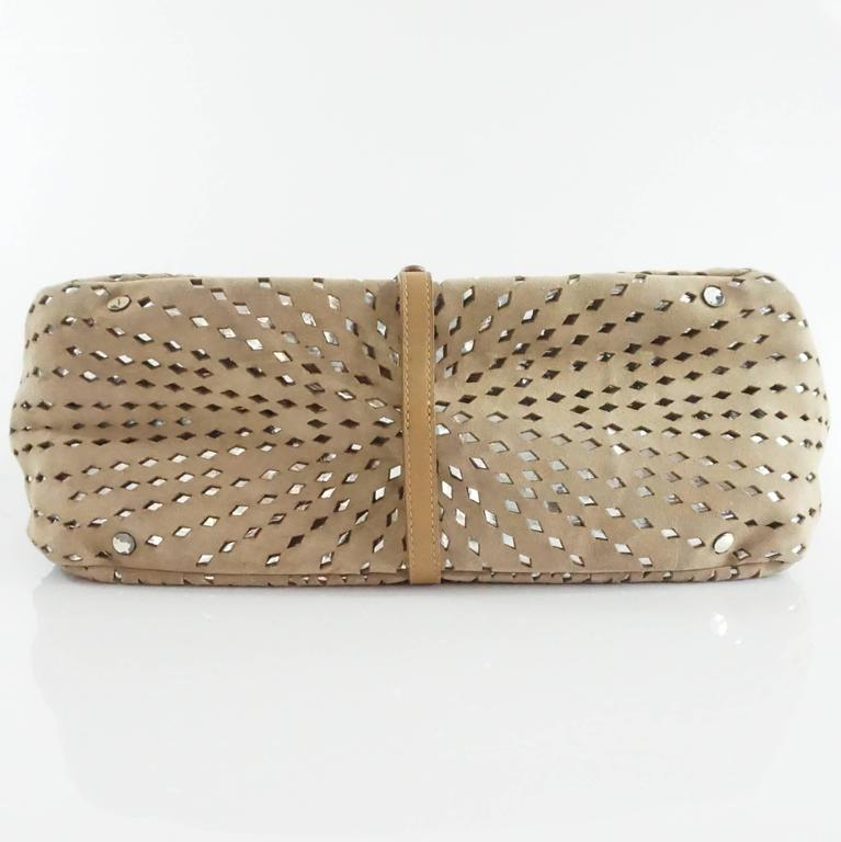 Jimmy Choo Tan and Silver Perforated Suede Shoulder Bag  4