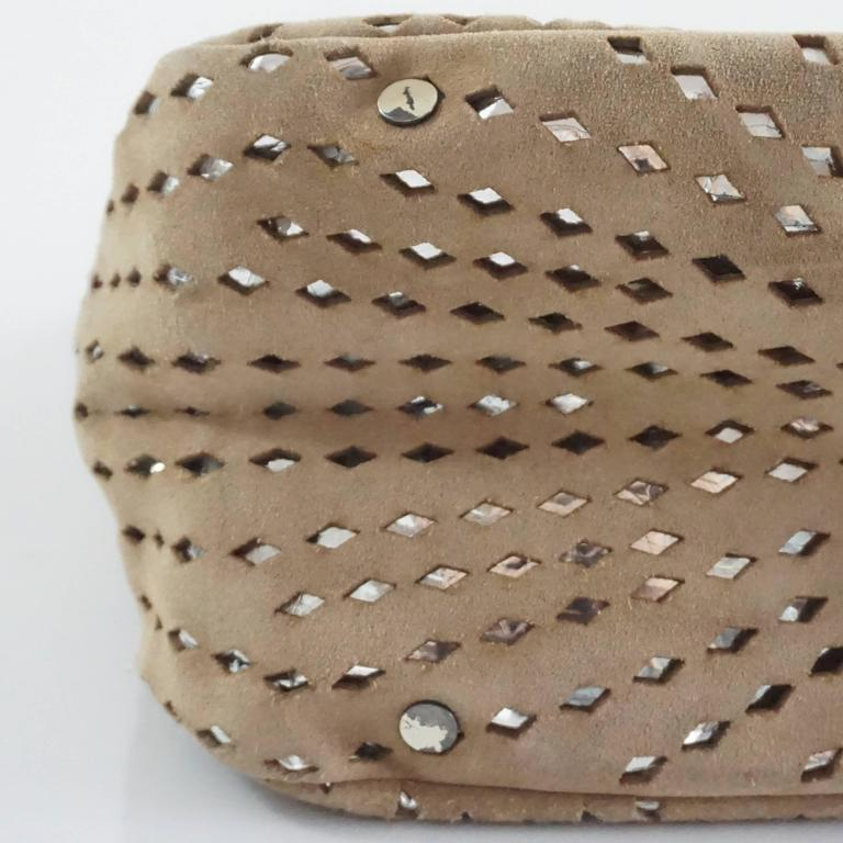 Jimmy Choo Tan and Silver Perforated Suede Shoulder Bag  7