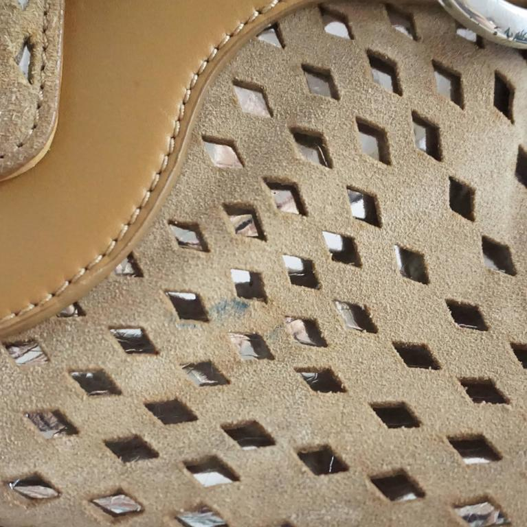 Jimmy Choo Tan and Silver Perforated Suede Shoulder Bag  9