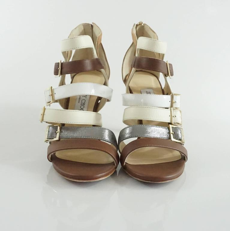 Brown Jimmy Choo Earthtones Strappy Bootie Sandal, Size 38.5 For Sale