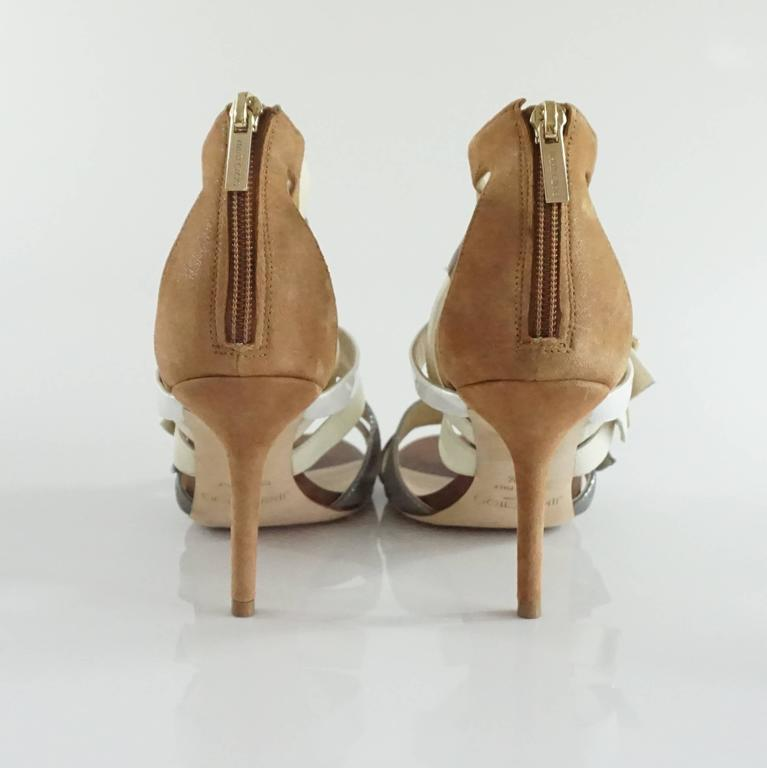 Jimmy Choo Earthtones Strappy Bootie Sandal, Size 38.5 In Good Condition For Sale In Palm Beach, FL