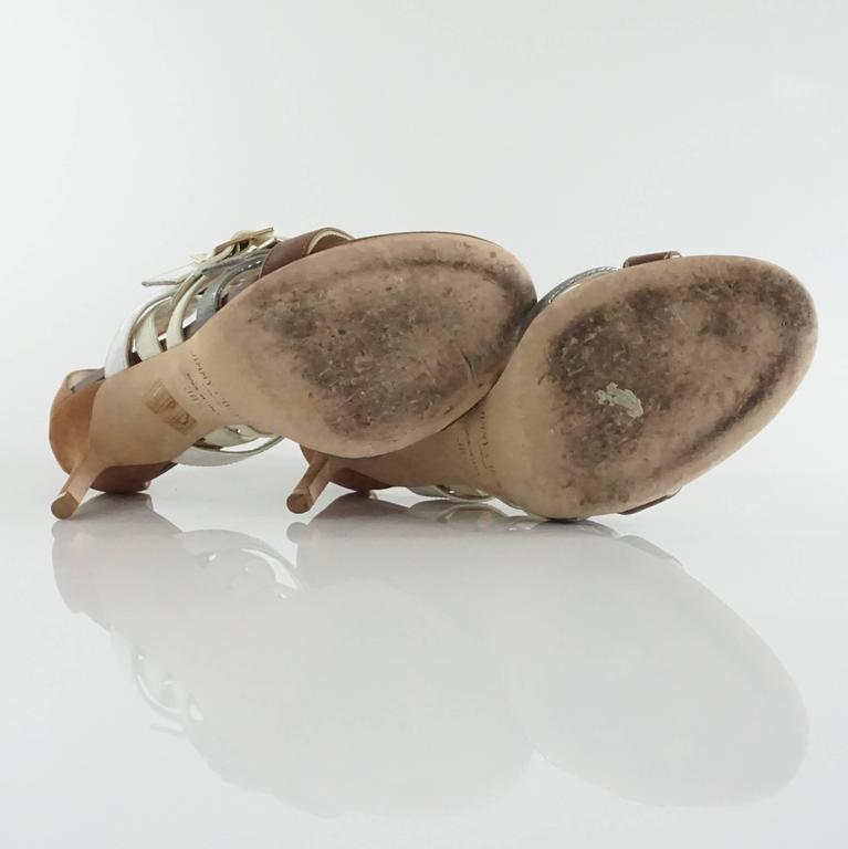 Women's Jimmy Choo Earthtones Strappy Bootie Sandal, Size 38.5 For Sale