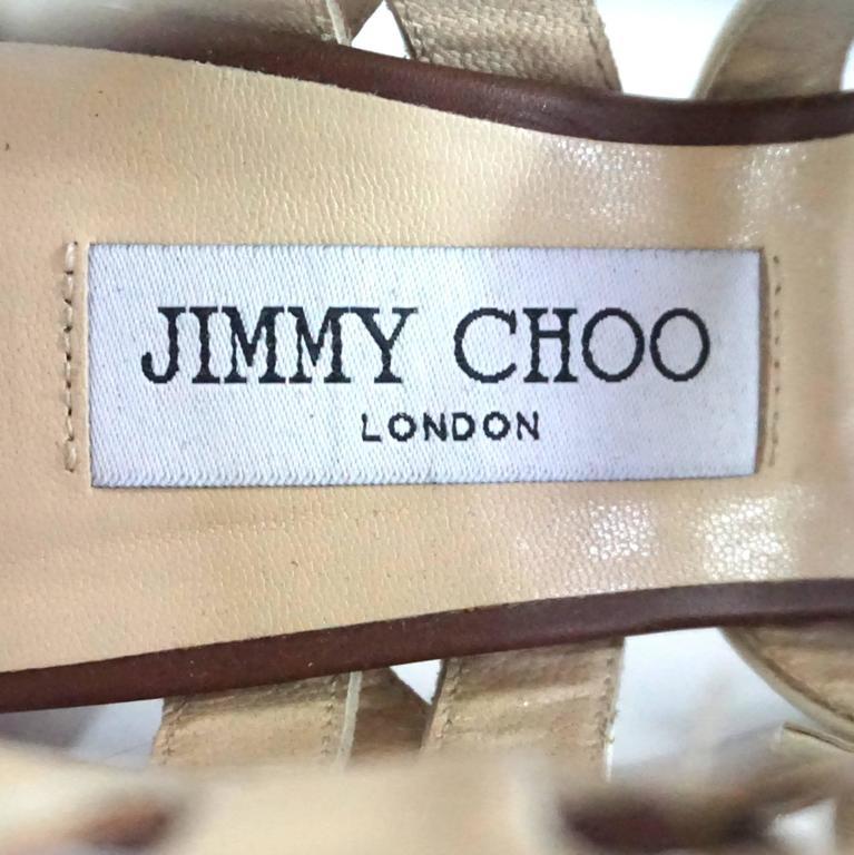 Jimmy Choo Earthtones Strappy Bootie Sandal, Size 38.5 For Sale 1