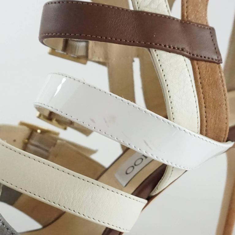 Jimmy Choo Earthtones Strappy Bootie Sandal, Size 38.5 For Sale 2