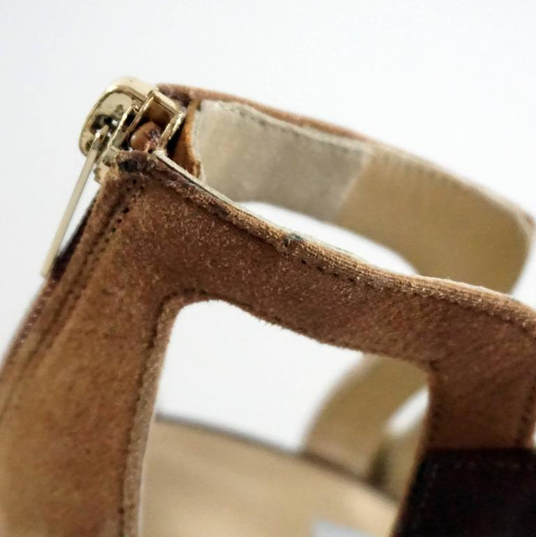 Jimmy Choo Earthtones Strappy Bootie Sandal, Size 38.5 For Sale 5