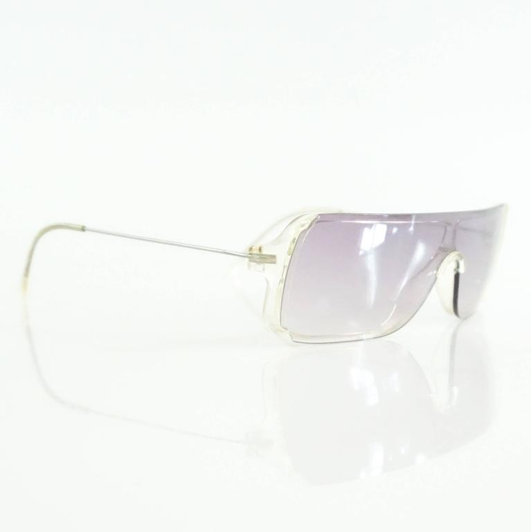 b0bad77209c ... cheap gray prada clear rectangular sunglasses with purple tinted lenses  for sale 01396 d4b2f