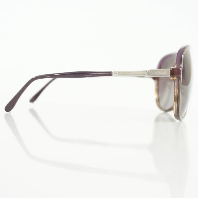 Chloe Brown and Purple Aviator Sunglasses For Sale at 1stdibs