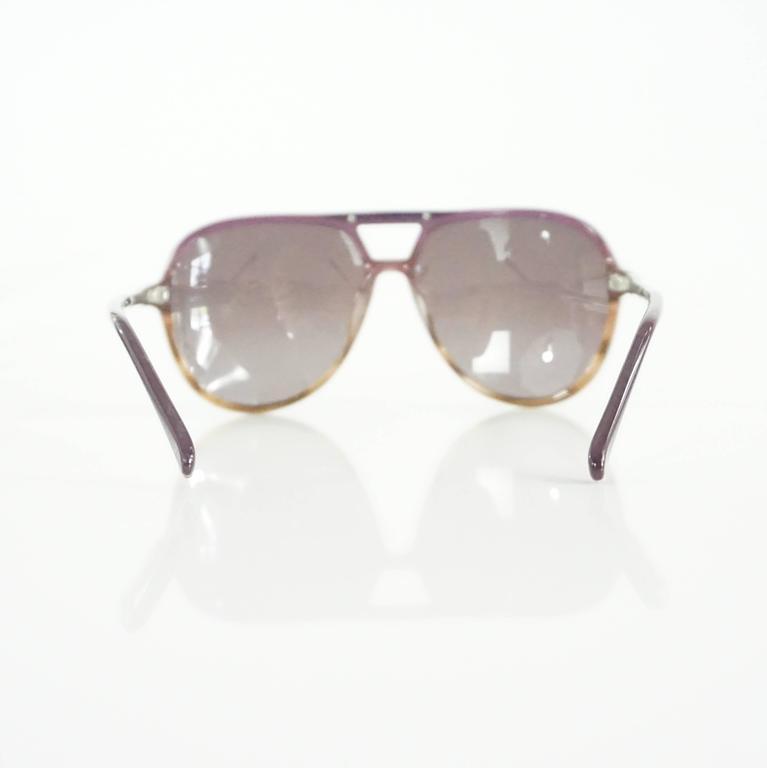 Gray Chloe Brown and Purple Aviator Sunglasses For Sale