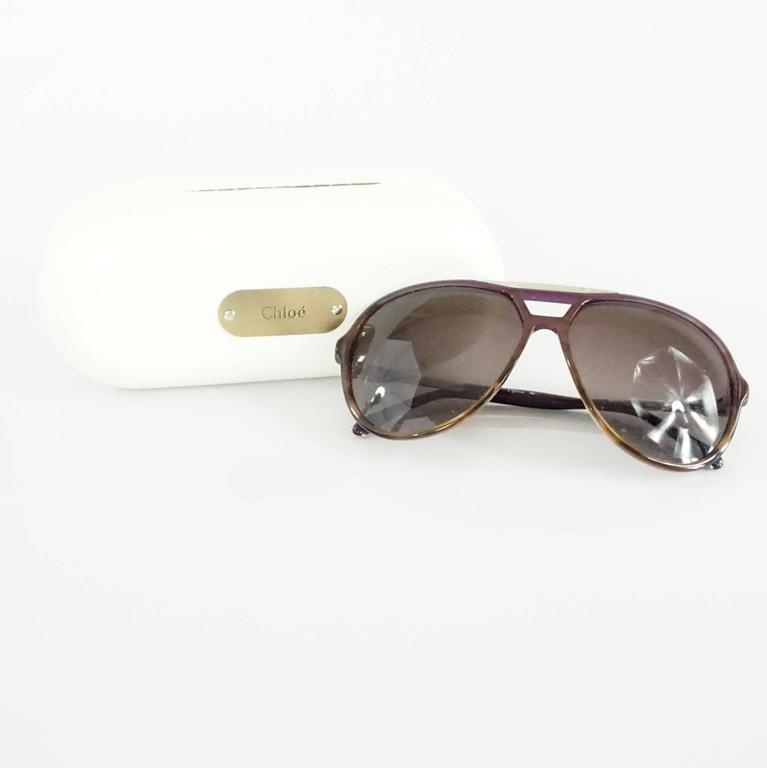 Women's Chloe Brown and Purple Aviator Sunglasses For Sale