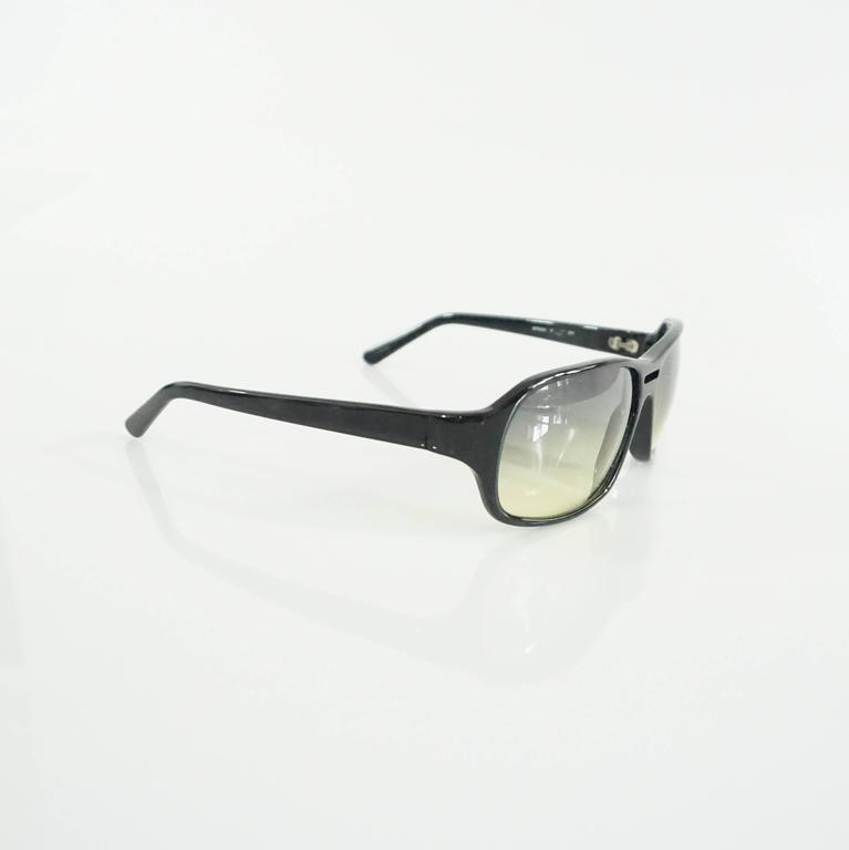 Gray Prada Black Framed Sunglasses with Yellow Tinted Lenses  For Sale