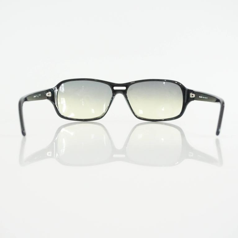 Prada Black Framed Sunglasses with Yellow Tinted Lenses  In Excellent Condition For Sale In Palm Beach, FL