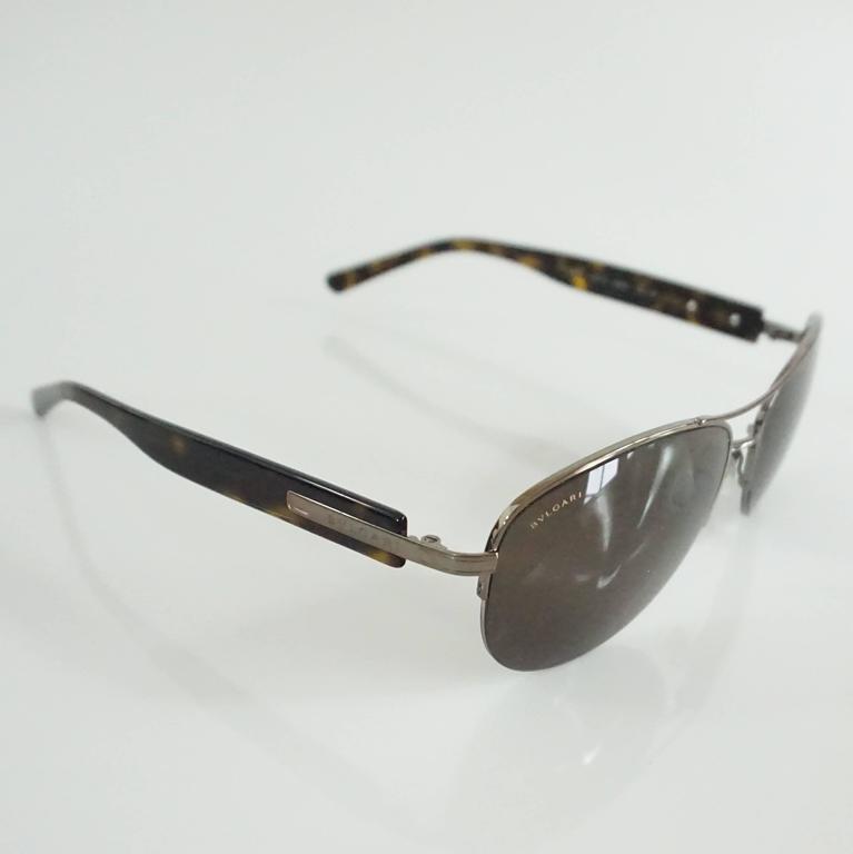 Black Bvlgari Silver Aviator Sunglasses with Tortoiseshell Legs For Sale