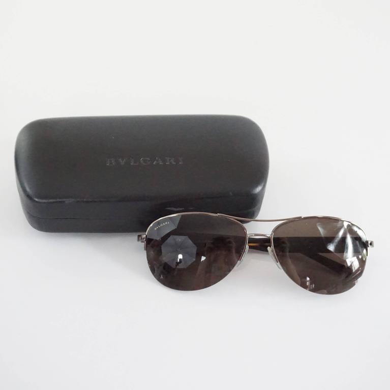 Women's Bvlgari Silver Aviator Sunglasses with Tortoiseshell Legs For Sale