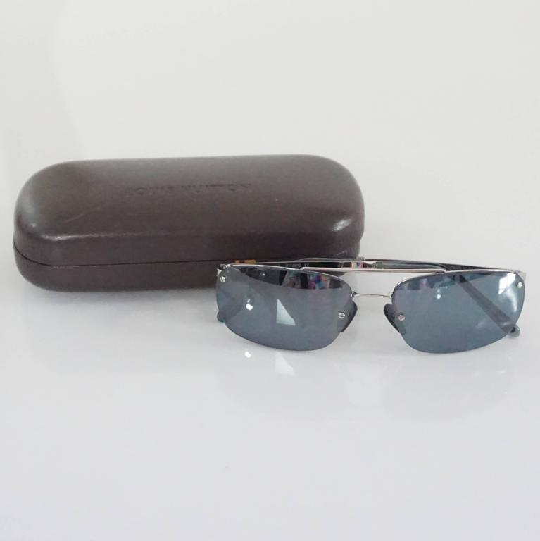 Louis Vuitton Silver Frameless Rectangular Sunglasses For Sale 1