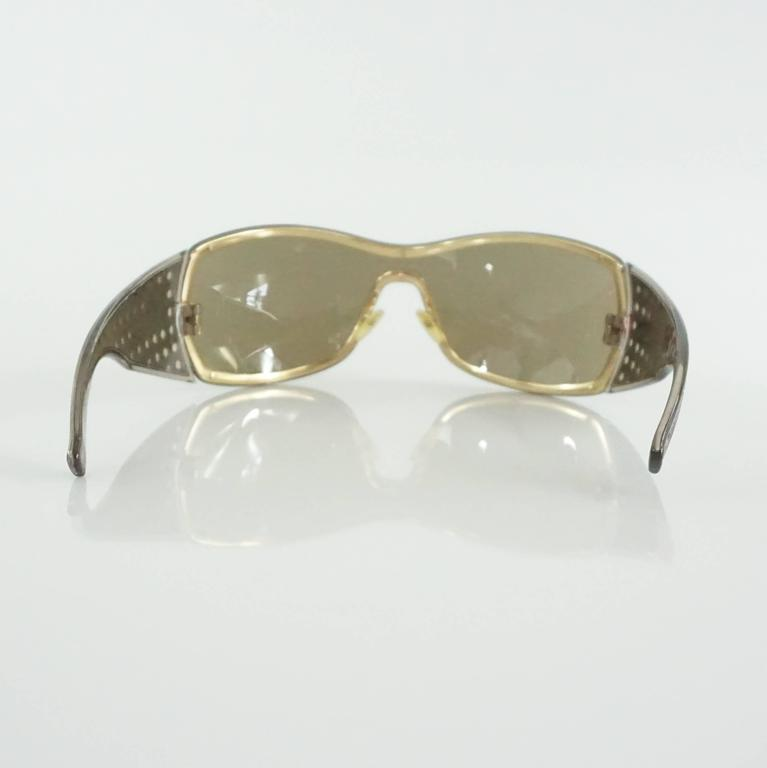 Christian Dior Taupe Sunglasses with Side Cutouts In Excellent Condition For Sale In Palm Beach, FL