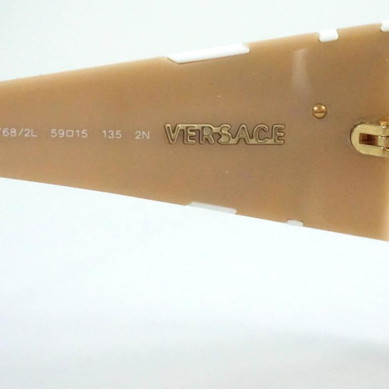 Versace Beige with White and Gold Bow Detailing Sunglasses For Sale 1