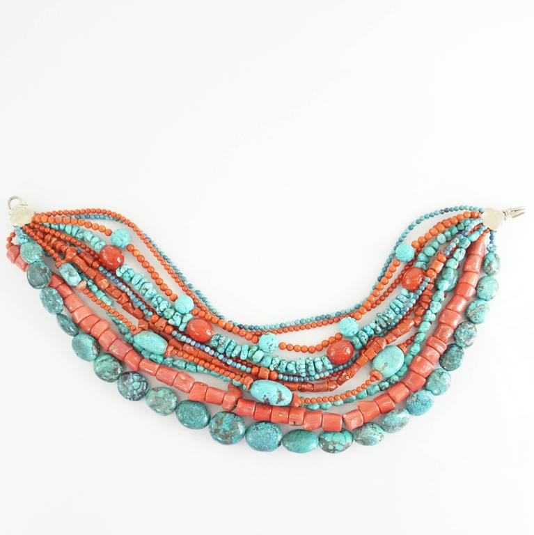 Stephen Dweck Coral and Turquoise Multi-Strand Beaded Necklace In As new Condition For Sale In Palm Beach, FL