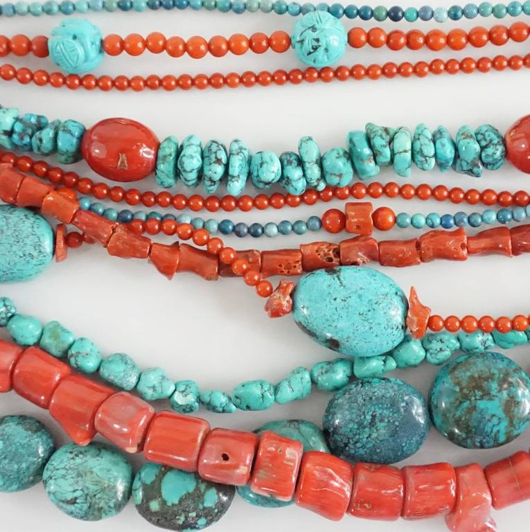 Women's Stephen Dweck Coral and Turquoise Multi-Strand Beaded Necklace For Sale