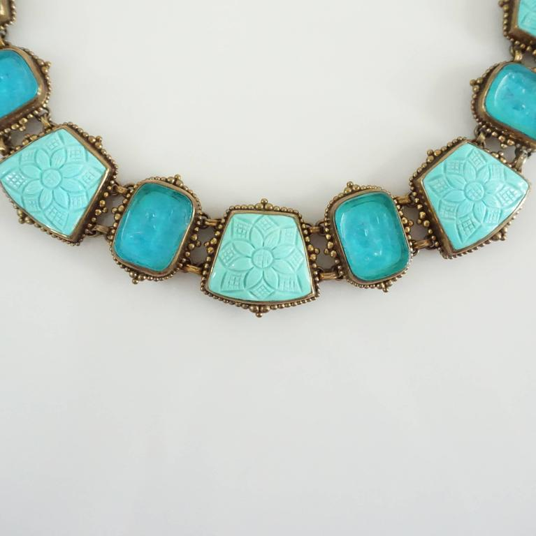 Stephen Dweck Intaglio Turquoise and Crystal Quartz Bronze Stone Necklace In As New Condition For Sale In Palm Beach, FL