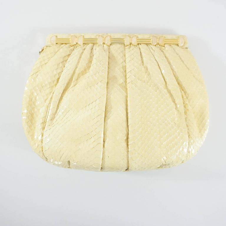 Beige Judith Leiber Cream Snake Stone Evening Bag  For Sale
