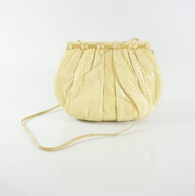 Women's Judith Leiber Cream Snake Stone Evening Bag  For Sale