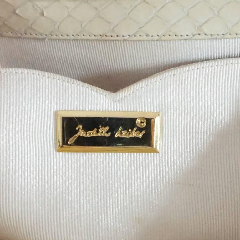 Judith Leiber Cream Snake Stone Evening Bag  For Sale 1