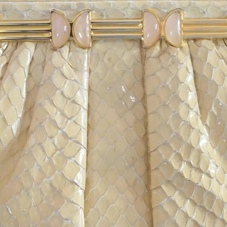 Judith Leiber Cream Snake Stone Evening Bag  For Sale 3