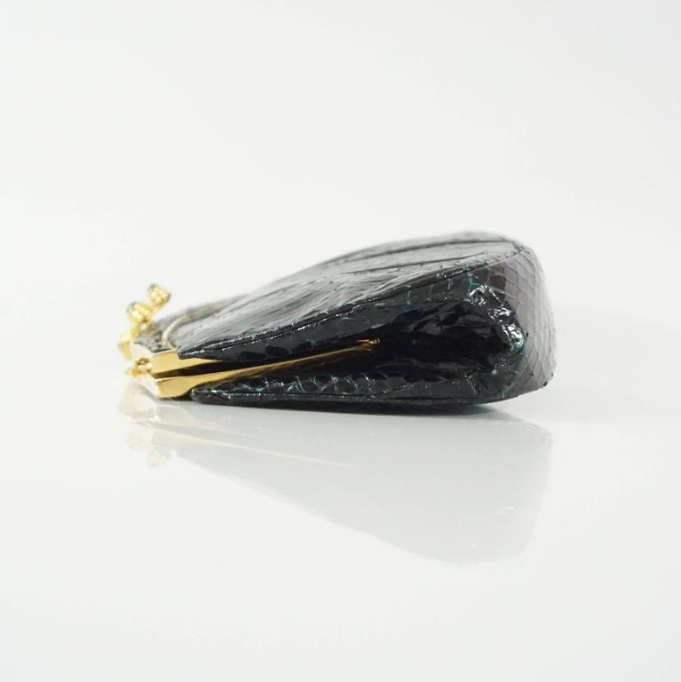 Judith Leiber Black Snake Frame Evening Bag  2