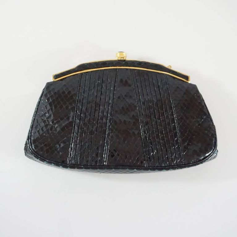 Judith Leiber Black Snake Frame Evening Bag  In Excellent Condition For Sale In Palm Beach, FL