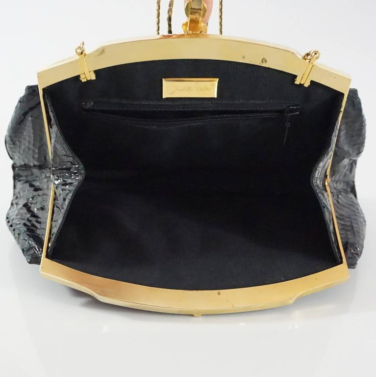 Judith Leiber Black Snake Frame Evening Bag  For Sale 1