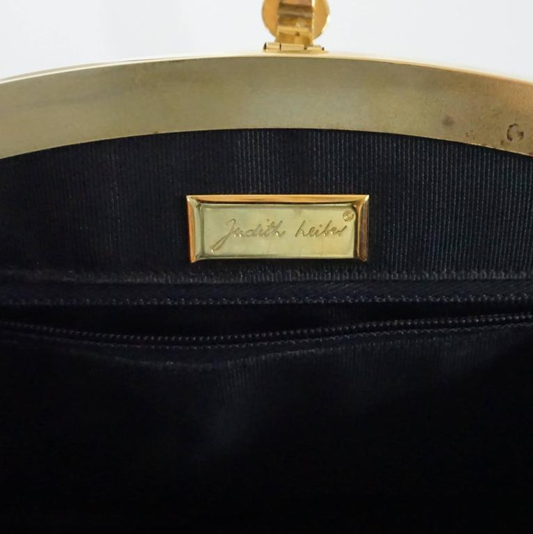 Judith Leiber Black Snake Frame Evening Bag  For Sale 2