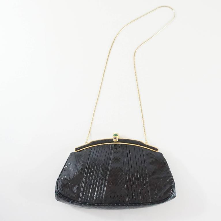 Judith Leiber Black Snake Frame Evening Bag  For Sale 3