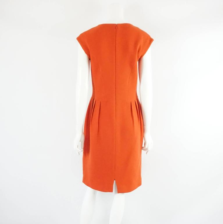 Red Giambattista Valli Burnt Orange Wool Dress - 44 For Sale