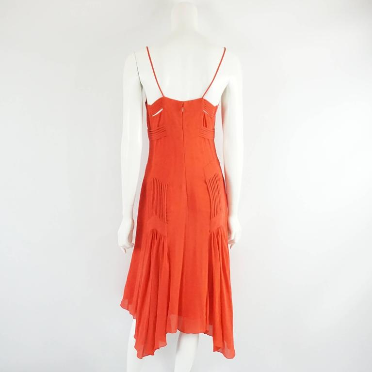 Badgley Mischka Red Silk Art Deco Style Dress - 6 In Excellent Condition For Sale In Palm Beach, FL