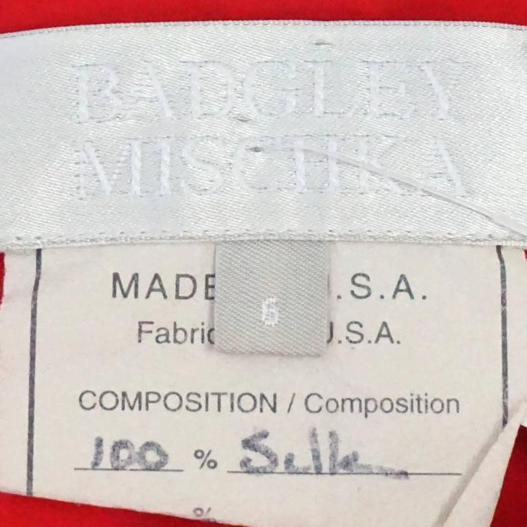 Women's Badgley Mischka Red Silk Art Deco Style Dress - 6 For Sale