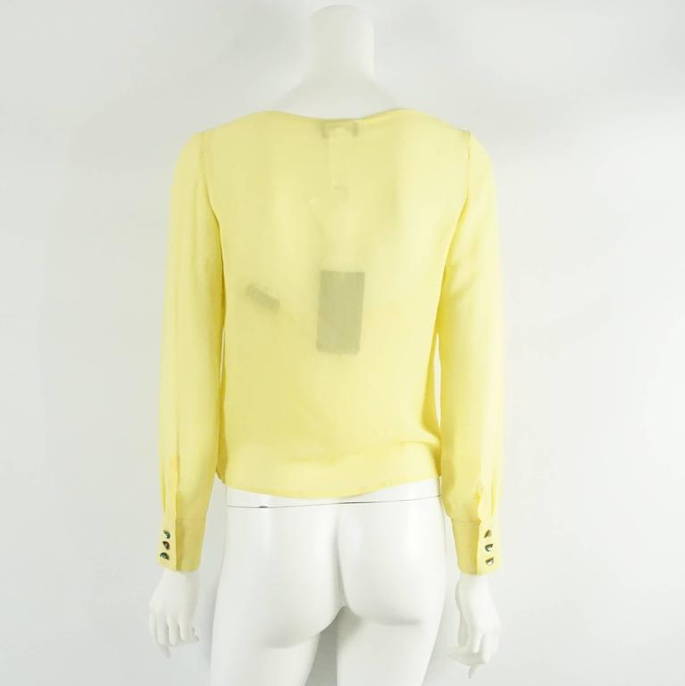 Palm Beach Chic Circa 1990s: Versace Yellow Silk Blouse With Lace Tank Top