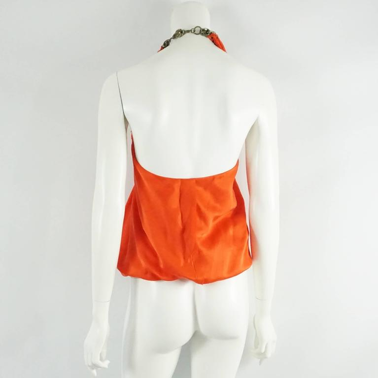 Red Lanvin Orange Silk Halter Top with Fringe - 38 For Sale