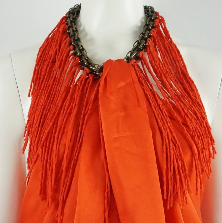 Lanvin Orange Silk Halter Top with Fringe - 38 In Good Condition For Sale In Palm Beach, FL