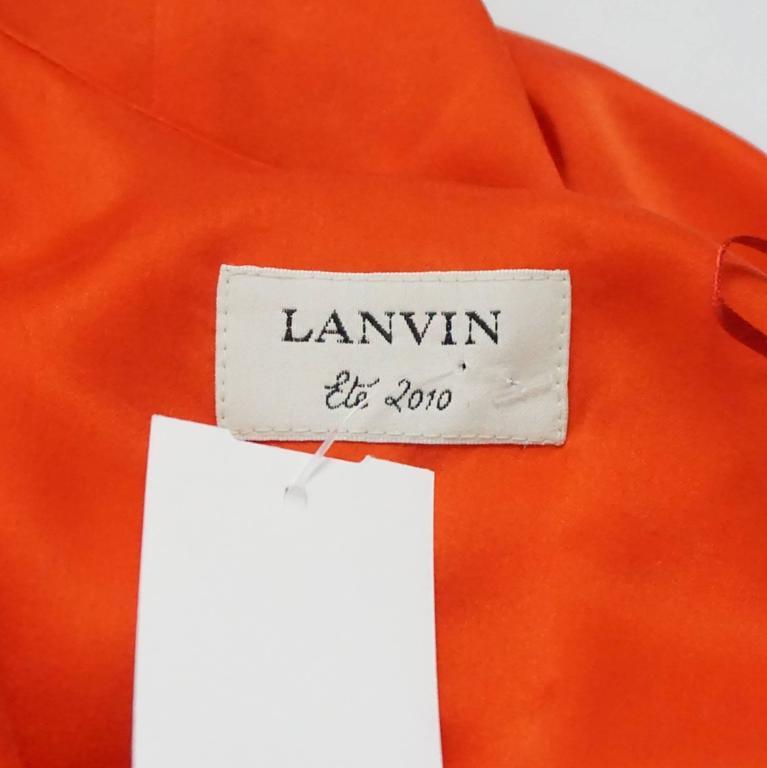 Lanvin Orange Silk Halter Top with Fringe - 38 5