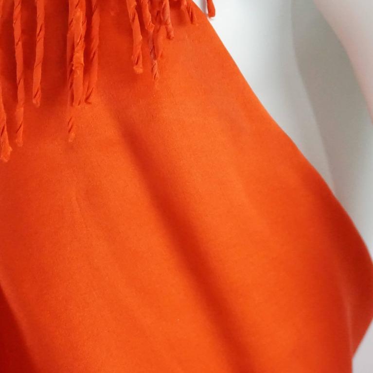 Lanvin Orange Silk Halter Top with Fringe - 38 9
