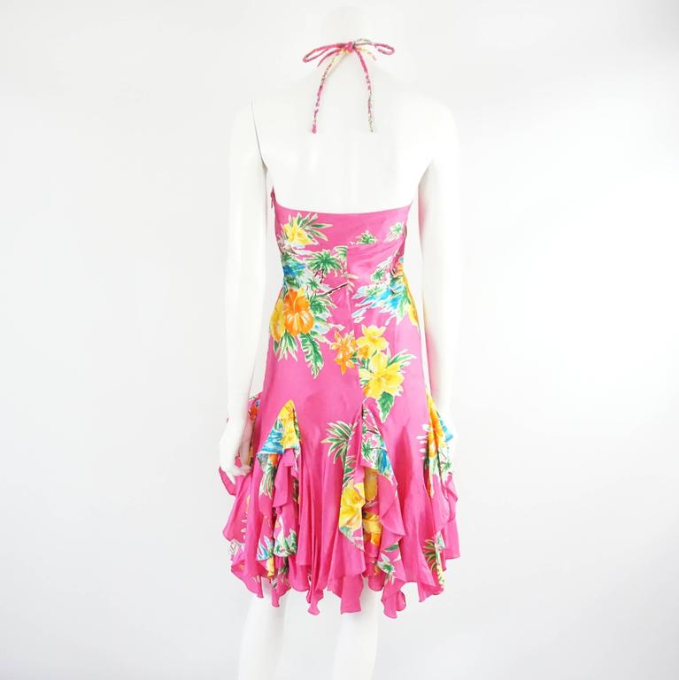 Ralph Lauren Pink Tropical Print Ruffle Dress - 4 In Good Condition For Sale In Palm Beach, FL