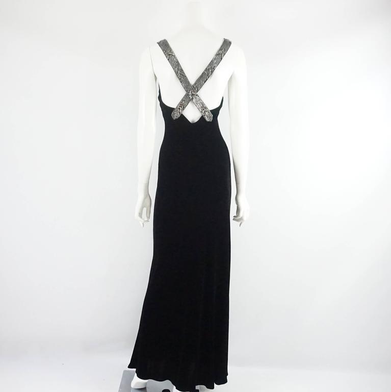 Ralph Lauren Collection Black Velvet Gown With Rhinestone Straps 8