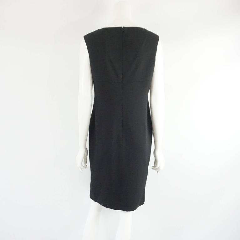 Valentino Black Wool Sleeveless Dress with Draped Neck – 8 In Excellent Condition For Sale In Palm Beach, FL