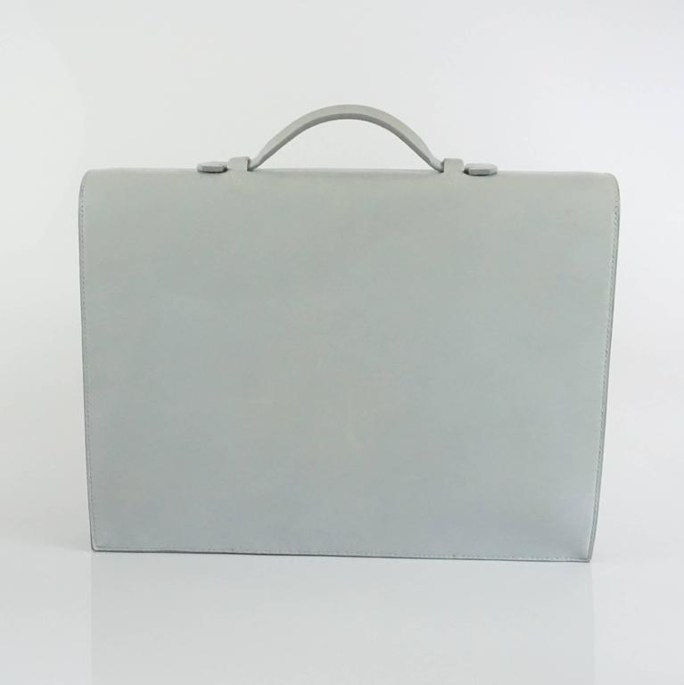 Gray Hermes Ciel Grey Kidskin 35cm Sac a Depeche -  SHW - 2001 For Sale