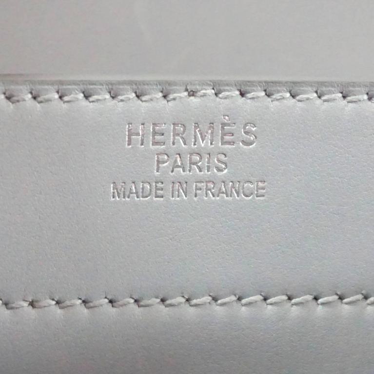 Hermes Ciel Grey Kidskin 35cm Sac a Depeche -  SHW - 2001 For Sale 1