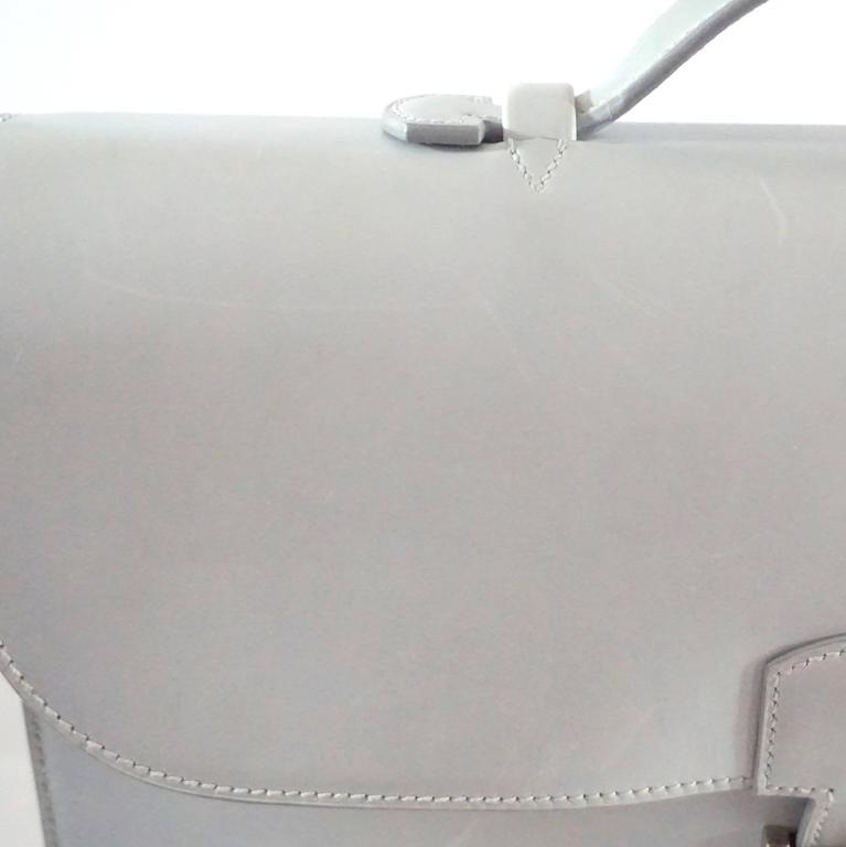 Hermes Ciel Grey Kidskin 35cm Sac a Depeche -  SHW - 2001 For Sale 4