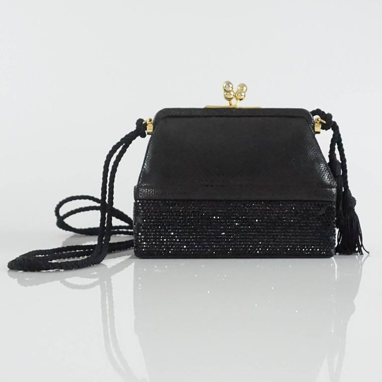 Judith Leiber Black Lizard and Rhinestone Evening Bag  In Good Condition For Sale In Palm Beach, FL