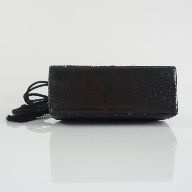 Women's Judith Leiber Black Lizard and Rhinestone Evening Bag  For Sale