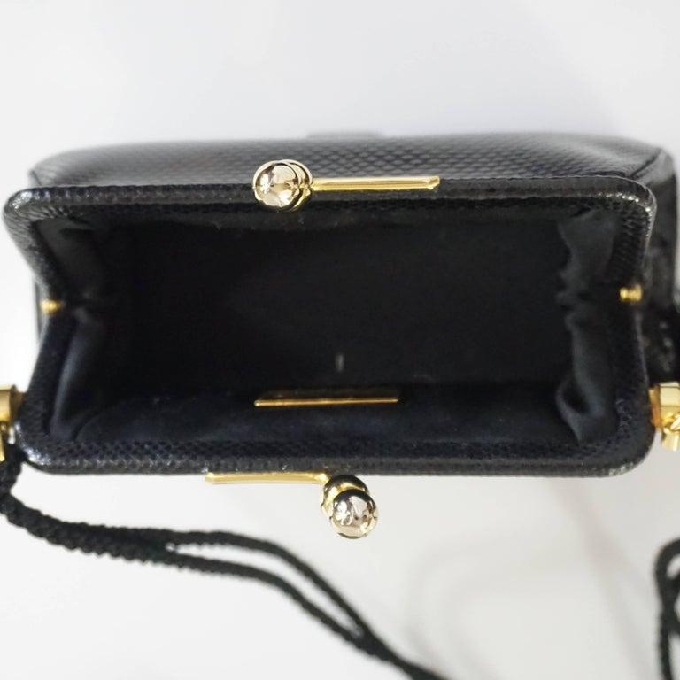 Judith Leiber Black Lizard and Rhinestone Evening Bag  For Sale 1